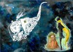 1girl 70s galaxy ginga_tetsudou_999 hat hoshino_tetsurou kirigami locomotive maetel oldschool science_fiction space space_train star_(sky) steam_locomotive three-nine_(space_train) train