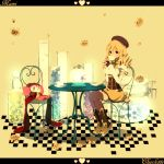 beret black_legwear blonde_hair boots chair character_name charlotte_(madoka_magica) checkered checkered_floor corset covered_mouth creature cup detached_sleeves dress drill_hair flask flower hat heart highres jar letterboxed long_hair mahou_shoujo_madoka_magica petals plate skirt table tama_(nezumi) teacup tears thigh-highs thighhighs tomoe_mami twin_drills twintails vertical-striped_legwear vertical_stripes vial yellow yellow_background yellow_dress yellow_eyes