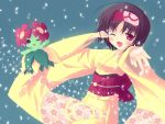 ;d bellossom black_hair cherry_blossoms erika_(pokemon) gym_leader hairband headband japanese_clothes kimono obi open_mouth petals pokemon pokemon_(game) pokemon_gsc pokemon_heartgold_and_soulsilver pokemon_hgss red_eyes short_hair ski_(sakai_farbe) smile wink