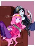 2girls adventure_time artist_name black_hair couch dated grey_skin long_hair marceline_abadeer multiple_girls pink_hair pink_skin princess_bonnibel_bubblegum psd signature vampire