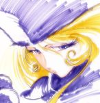 blonde_hair blue_eyes face fur_hat ginga_tetsudou_999 hat maetel portrait solo