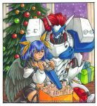 armor asymmetrical_wings blue_hair box christmas_tree codpiece dizzy gift gift_box guilty_gear hair_ribbon justice_(guilty_gear) lowres mother_and_daughter multiple_girls navel navel_cutout red_eyes red_hair redhead ribbon tubby_fleck watermark web_address wings