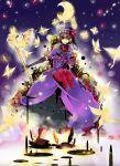 bow butterfly city dress elbow_gloves eva_beatrice flower gloves grin hat moon orange_hair petals ribbon rose smile staff star sutinki umineko_no_naku_koro_ni