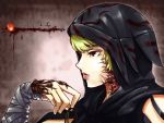 bandages blonde_hair character_name hood my400ml nimue_(soul_sacrifice) scar soul_sacrifice