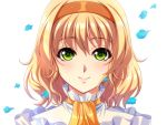 1girl blonde_hair bust byuune close-up eyebrows_visible_through_hair face green_eyes hair hairband natalia_luzu_kimlasca_lanvaldear petals portrait smile tales_of_(series) tales_of_the_abyss