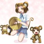 4girls akiyama_mio animal_costume animal_ears brown_eyes brown_hair chibi cymbals heiya hirasawa_yui instrument k-on! kotobuki_tsumugi minigirl monkey_costume monkey_ears monkey_tail multiple_girls school_uniform short_hair tainaka_ritsu