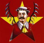 alternate_wings communism cosplay facial_hair flandre_scarlet flandre_scarlet_(cosplay) hat joseph_stalin male mustache parody solo star tagawa_gengo touhou wings