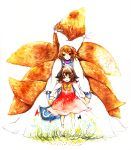 :o absurdres animal_ears aone cat_ears chen fox_tail hat highres holding multiple_girls multiple_tails no_hat no_headwear open_mouth smile tail touhou traditional_media watercolor_(medium) yakumo_ran