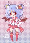 alternate_costume alternate_hairstyle bat_wings blue_hair checkered checkered_background crescent double_bun elbow_gloves gloves magical_girl mucco red_eyes remilia_scarlet sailor_moon_(cosplay) solo star touhou wings