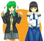 amagami ayatsuji_tsukasa bare_shoulders black_eyes black_hair cosplay costume_switch crossed_arms crossover detached_sleeves frog_hair_ornament green_eyes green_hair hair_ornament hikikorosuzoware japanese_clothes kochiya_sanae long_hair multiple_girls open_mouth pleated_skirt school_uniform skirt sweater_vest touhou