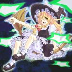 blonde_hair bloomers braid broom broom_riding dress hair_ribbon hat kirisame_marisa long_hair mary_janes open_mouth ribbon shoes soapwort socks solo star touhou wink witch_hat yellow_eyes
