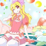 1girl :p aikatsu! blonde_hair blush bow dress flower hair_bow hoshimiya_ichigo long_hair looking_at_viewer sitting smile solo tongue tongue_out wakie wariza wink