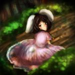 brown_eyes brown_hair carrot forest inaba_tewi juriesute pink_dress rabbit_ears touhou