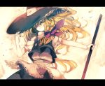 bad_id blonde_hair braid broom hat hat_tip kirisame_marisa letterboxed one-eyed shippo_(skink) skink solo touhou witch_hat yellow_eyes