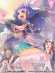 2girls 4boys :d basket blue_hair bra braid clock clock_tower crowd dancing flower fountain green_eyes hair_flower hair_ornament hair_ribbon instrument kneehighs leg_belt long_hair midriff multiple_boys multiple_girls navel open_mouth original piro_(artist) pleated_skirt pose ribbon skirt smile solo_focus standing_on_one_leg sweat tambourine tower twin_braids two_side_up underwear watermark web_address white_legwear