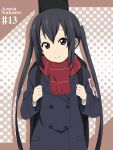 black_hair brown_eyes character_name coat gloves guitar_case ikari_manatsu instrument_case k-on! long_hair nakano_azusa scarf solo twintails