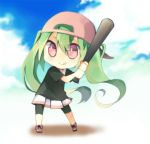 1girl :q baseball_bat baseball_cap chibi green_hair hat hatsune_miku left-handed long_hair pink_eyes skirt solo tongue twintails very_long_hair vocaloid