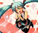 :d aqua_hair closed_eyes detached_sleeves hands_together happy hatsune_miku heart hirococo jumping long_hair necktie open_mouth skirt smile solo sparkle thigh-highs thighhighs twintails very_long_hair vocaloid