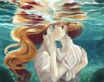 androgynous brown_hair closed_eyes eyes_closed freckles hands hug kiss long_hair multiple_girls muse33 mutual_yuri original red_hair reflection short_hair sleeves_rolled_up underwater water yuri