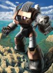 cloud fighting_stance fist gundam gundam_msv mecha mobile_suit mobile_suit_gundam no_humans ocean oldschool partially_submerged perspective raybar realistic robot rock science_fiction sky solo water zogok