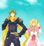 1girl aqua_background armor aura_(wild_arms) blind blonde_hair bodysuit closed_eyes couple daken99 dress eyes_closed flower green_hair hair_flower hair_ornament hand_on_hip happy headband height_difference hips long_hair pants pauldron pauldrons pink_dress scarf title_drop wild_arms wild_arms_1 wild_arms_alter_code_f zed