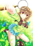 1girl braid brown_eyes brown_hair butterfly detective foreshortening ichijou long_hair magnifying_glass pani_poni_dash! regress school_uniform sitting wariza