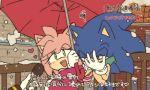 1boy 1girl amy_rose blush bukiko facepalm heart microphone snow sonic sonic_the_hedgehog special_feeling_(meme) translation_request umbrella
