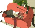 1girl couch flaky flippy happy_tree_friends holding knife long_hair pantyhose personification red_hair redhead scarf shoe_dangle shoes_removed single_shoe sleeping tsu_da
