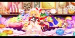 ankle_cuffs bare_legs barefoot bed blonde_hair bloomers blush bobby_socks bottle bow bowtie brooch candle character_doll cup dress flandre_scarlet flower footwear goriyaku hands_on_knees hat hat_bow jar jewelry kirisame_marisa letterboxed long_hair marble perfect_cherry_blossom picture_frame pillow red_eyes remilia_scarlet ribbon scale scarf scarft shield side_ponytail sitting socks solo stuffed_animal stuffed_toy teacup teapot teddy_bear the_embodiment_of_scarlet_devil touhou very_long_hair wings witch witch_hat wrist_cuffs