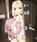 angry blonde_hair brown_eyes clothes_writing clothing_writing futaba_anzu idolmaster idolmaster_cinderella_girls long_hair otsumami_(bu-bu-heaven) solo stuffed_animal stuffed_bunny stuffed_toy twintails