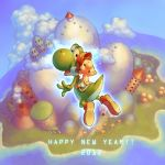 2boys arm_up aura baby baby_mario brown_hair building cloud creature diaper dinosaur english flower happy_new_year hat island jumping looking_back looking_up male mario mountain new_year nintendo ocean om_(carbohydratism) raised_arm riding shoes super_mario_bros. super_mario_world_2:_yoshi's_island text tower volcano yoshi young