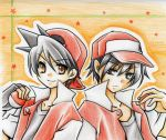 aoto backwards_hat baseball_cap black_gloves black_hair brown_eyes buttons collarbone colored_pencil_(medium) dual_persona fingerless_gloves gloves hair_between_eyes hat highres light_smile looking_at_viewer multiple_boys multiple_persona orange_background pencil_crayon_(medium) poke_ball pokemon pokemon_(game) pokemon_rgby pokemon_special popped_collar red_(pokemon) serious shirt smile star starry_background symmetry traditional_media