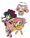 4girls amy_rose black_hair bow bukiko company_connection hair_bow headset japanese_clothes multiple_girls pink_hair ponytail sakura_taisen sega sega_dreamcast sega_dreamcast_(sega_hard_girls) sega_hard_girls shinguuji_sakura sonic_the_hedgehog space_channel_5 twintails ulala
