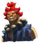 1boy beads bust dark_skin dougi gouki grimace highres ikeno_daigo male no_pupils official_art portrait prayer_beads red_eyes red_hair redhead sleeveless solo street_fighter street_fighter_iii street_fighter_iii:_3rd_strike topknot torn_clothes torn_sleeves