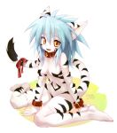 amber_eyes animal_ears anthro bandage bandages barefoot blue_hair breasts cat_ears collar cotora fang feet feline female fur furry fuurin_rei hair long_hair looking_at_viewer markings mizuki_kotora navel nude open_mouth original paws ribbon ribbons simple_background sitting solo striped toes wariza wrist_cuffs yellow_eyes