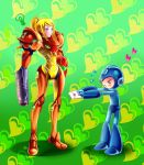 >_< 1girl ? arm_cannon blonde_hair blue_eyes blush_stickers confession crossover headwear_removed heart helmet helmet_removed kagomesarrow letter long_hair love_letter metroid ponytail rockman rockman_(character) rockman_(classic) samus_aran size_difference varia_suit weapon