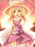 artist_request blonde_hair cloud comic frog hair_ribbon hat highres long_sleeves moriya_suwako open_mouth ribbon semony short_hair skirt smile solo tears thigh-highs thighhighs touhou white_legwear yellow_eyes