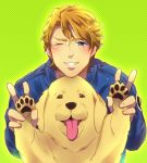 blonde_hair blue_eyes blue_jacket bomber_jacket dog double_v jacket john_(tiger_&_bunny) keith_goodman male morino_mizu short_hair tiger_&_bunny v wink