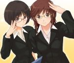 :3 adjusting_glasses amagami artist_request bespectacled black_hair brown_eyes brown_hair female formal glasses jpeg_artifacts multiple_girls official_art red-framed_glasses sakurai_rihoko short_hair source_request suit tachibana_miya takayama_kisai teacher yellow-framed_glasses