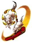 bunny crescent fuchi. mallet no_humans okami ookami_(game) rabbit tattoo wolf yumigami
