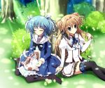 black_legwear blue_eyes blue_hair bow brown_hair cat closed_eyes eyes_closed flower hair_intakes hair_ribbon hair_twirling highres long_hair mascot mashiroiro_symphony multiple_girls no_shoes outdoors pan-nya pantyhose pleated_skirt ribbon school_uniform seiza sena_airi short_hair short_twintails sitting skirt smile thigh-highs thighhighs twintails uryuu_sakuno wariza zettai_ryouiki