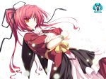 glaring highres long_hair magus_tale ponytail red_eyes red_hair redhead ribbon seera_finis_victoria solo