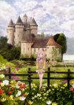 absurdres atelier_(series) atelier_meruru banner blue_eyes building castle cloud crossed_legs_(standing) crown daffodil door fence flag flower grass highres horizon ivy kishida_mel leaf meadow medieval merurulince_rede_arls nature pink_hair ribbon scenery shoes skirt sky smile solo spire staff structure text tower tree tulip water weapon window