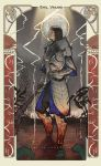 armor art_nouveau blood brown_hair card_(medium) demon's_souls demon's_souls full_armor garl_vinland gauntlets greaves headwear_removed helmet helmet_removed lightning long_hair mace male nekkeau pauldron pauldrons watermark weapon web_address