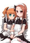 alternate_costume apron arm_hug blush bow brown_eyes brown_hair enmaided frills green_eyes hair_bow idolmaster long_hair maid maid_headdress minase_iori multiple_girls short_hair short_twintails simple_background sitting smile takatsuki_yayoi thigh-highs thighhighs ttomm twintails wariza white_legwear wrist_cuffs zettai_ryouiki