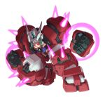 armor bare_shoulders bodysuit clenched_hands energy fighting_stance glowing green_hair gundam gundam_age gundam_age-1 gundam_age-1_titus headband helmet king_of_unlucky looking_at_viewer mecha_musume mechanical_arms mechanical_legs personification power_armor red_eyes simple_background solo vest white_background