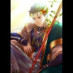 blue_hair earrings fate/stay_night fate_(series) gae_bolg jewelry lancer long_hair male pauldron pauldrons pillarboxed ponytail red_eyes robe san_moto solo