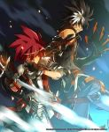 2boys armor belt black_gloves black_hair blue_background brown_eyes claws coat covered_mouth elsword elsword_(character) gloves male multicolored_hair multiple_boys official_art pants pauldron pauldrons raven_(elsword) red_hair redhead ress spiked_hair spiky_hair sweat two-tone_hair white_hair wink