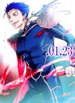 aonome blue_hair earrings fate/stay_night fate_(series) gae_bolg jewelry lancer long_hair male pauldron pauldrons polearm ponytail red_eyes solo spear weapon