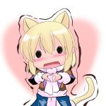 animal_ears blonde_hair blush cat_ears cat_tail chibi heart heart_hands hoshizuki_(seigetsu) mizuhashi_parsee pointy_ears puru-see scarf short_hair skirt solid_circle_eyes solo tail touhou trembling